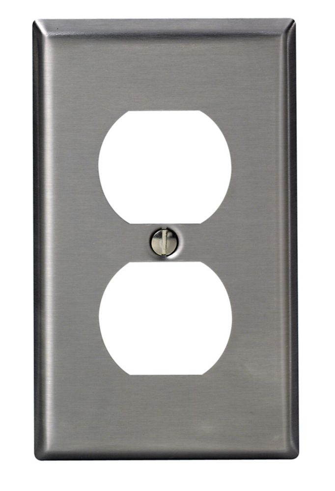 Leviton 1-Gang Duplex Receptacle Plate Type 430, Stainless Steel