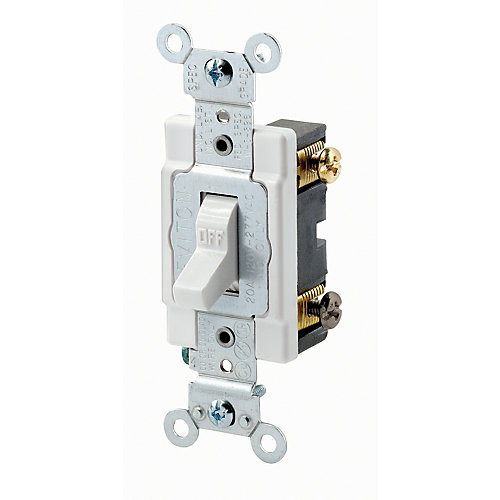 2 Pole Switch 20 Amp  120/277v , White