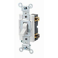 Interrupteur Bipolaire, 20A, 120/277V, Blanc