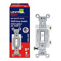Interrupteur Unipolaire, 20A, 120/277V, Blanc