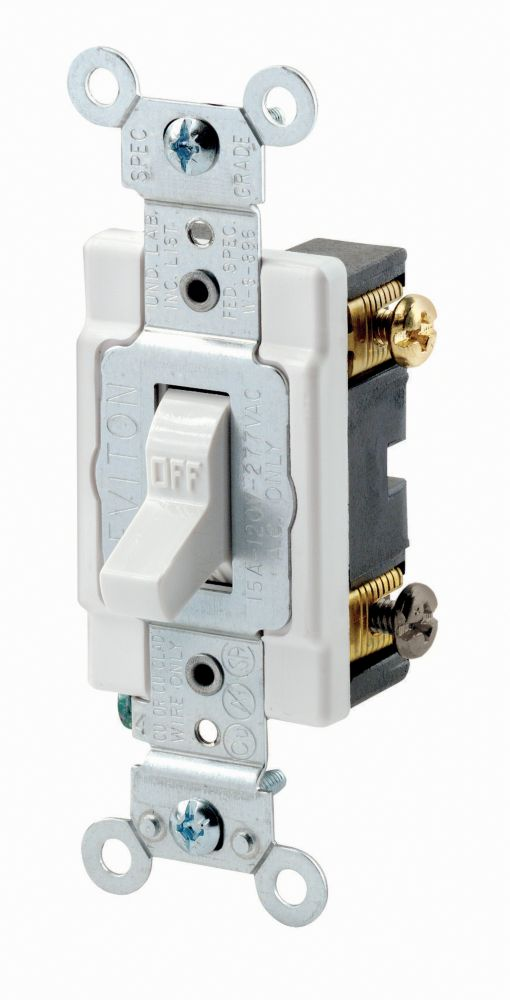 2 Pole Switch 15 Amp 120/277v, White 0CSB2-774 Canada Discount