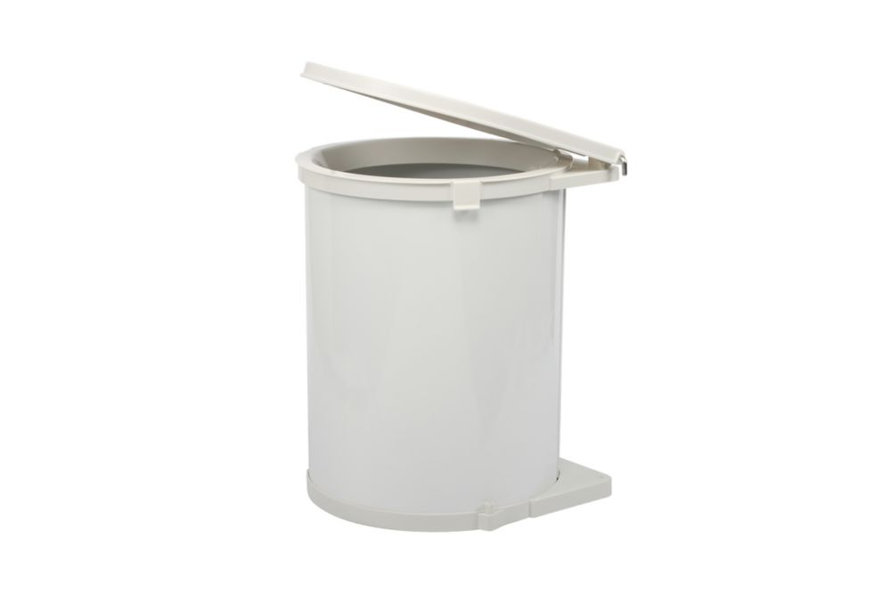 Knape & Vogt 20-inch H. x 14-inch W x 13-inch D Plastic In-Cabinet Pivot-Out Trash Bin in White