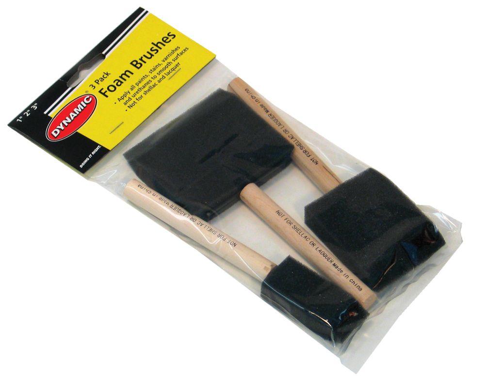 Jeu de 3 pinceaux en mousse à manche en bois - 25 mm (1 po), 50 mm (2 po), 75 mm (3 po)