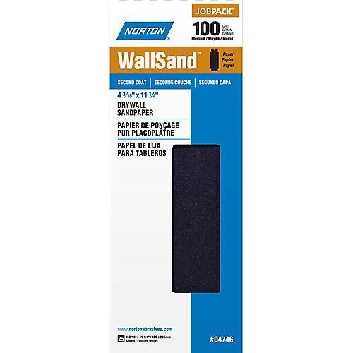 WallSand 4-3/16 inch x11-1/4 inch  Sanding Sheets Medium-100 grit (25-Pack)