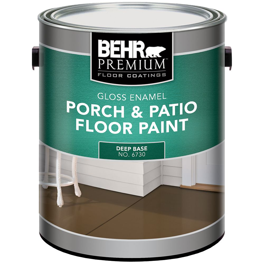 Behr BEHR PREMIUM FLOOR COATINGS Interior/Exterior Porch & Patio Floor Paint, Gloss Enamel, Deep Base, 3.43 L