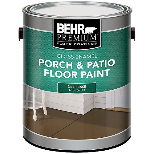 Behr Premium FLOOR COATINGS Interior/Exterior Porch & Patio Floor Paint, Gloss Enamel, Deep Base, 3.43 L