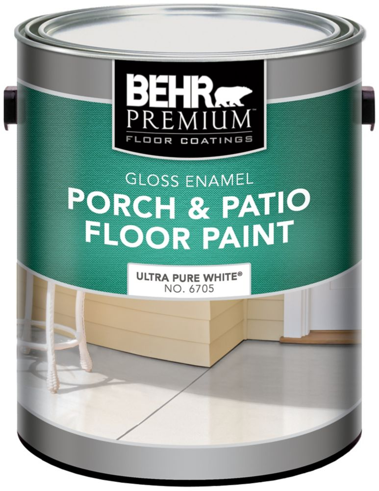 BEHR PREMIUM Gloss Enamel Porch & Patio Floor Paint, Ultra Pure White, 3.79L