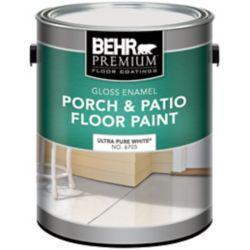 BEHR BEHR PREMIUM Peinture Pour Planchers Galerie & Patio - Émail Brillant, Blanc Ultra Pur, 3,79L