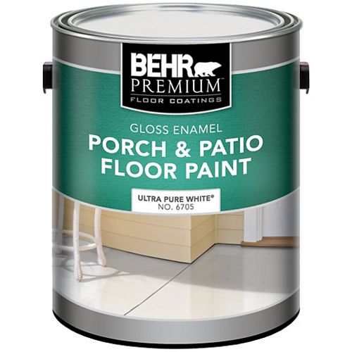 Behr Premium Gloss Enamel Porch & Patio Floor Paint, Ultra Pure White, 3.79L