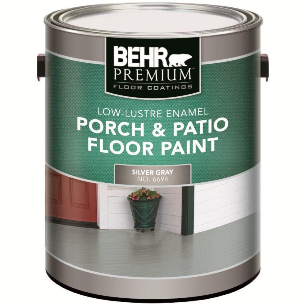 PREMIUM PLUS Interior/Exterior Porch & Floor Paint - Low-Lustre Enamel, Silver Gray, 3.79L
