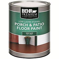 BEHR PREMIUM REVÊTEMENTS DE PLANCHERS Peinture pour planchers Galerie & patio - Intérieur/extérieur - Émail lustre doux - Base foncée, 858 ml