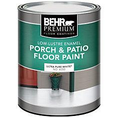 BEHR PREMIUM Peinture Pour Planchers, Galerie & Patio - Émail Lustre Doux, Blanc Ultra Pur, 946 mL