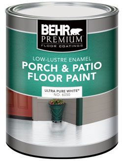 Behr BEHR PREMIUM Low-Lustre Enamel Porch & Patio Floor Paint, Ultra Pure White, 946 mL