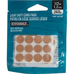 Everbilt 1/2 inch Self-Adhesive Round Cork Pads (24-Pack)