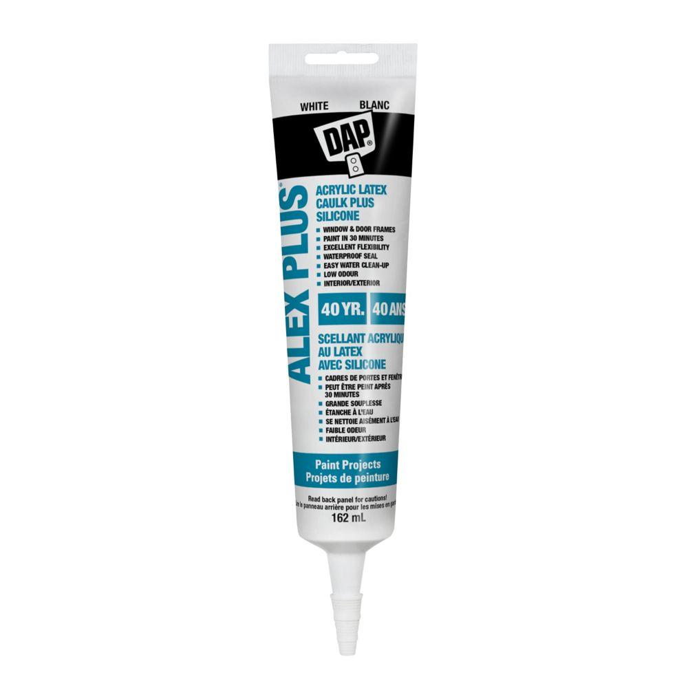 162ML, White, Alex Plus Acrylic Latex Caulk with Silicone - 35 Yr