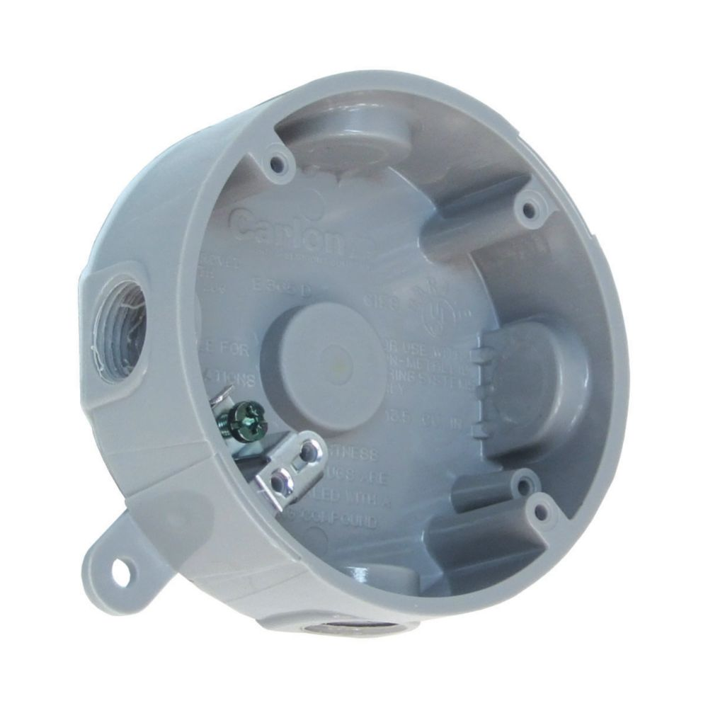 Outdoor Wiring Box Automotive Diagram Telephone Thomas Betts Weatherproof Round Pvc Junction Grey The Home Rh Homedepot Ca Electricity Cover
