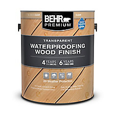 BEHR PREMIUM TRANSPARENT WEATHERPROOFING WOOD FINISH, NATURAL, 3.67 L