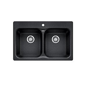 Blanco vision 210 top mount natural granite composite 2 bowl kitchen vision 210 top mount natural granite composite 2 bowl kitchen sink in anthracite workwithnaturefo
