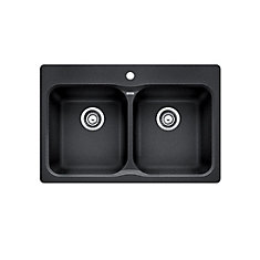 Vision 210 Top-Mount Natural Granite Composite 2-Bowl Kitchen Sink in Anthracite