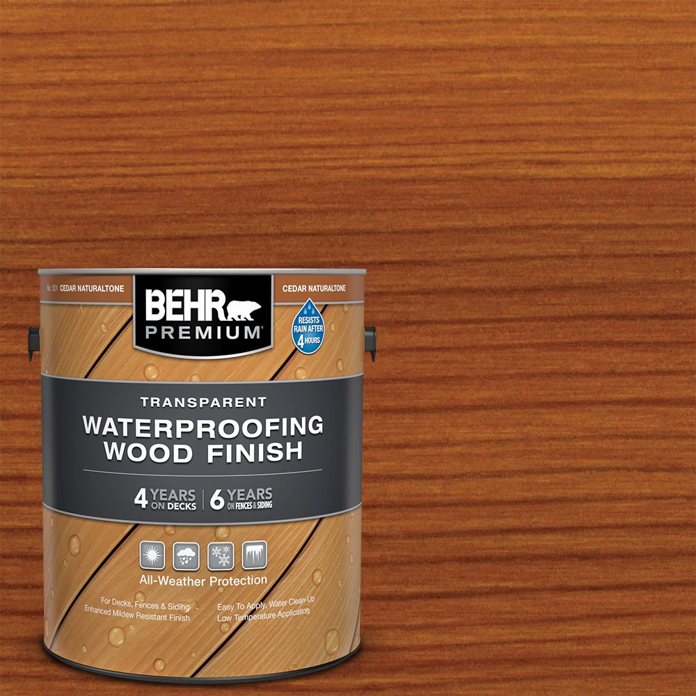 BEHR PREMIUM TRANSPARENT WEATHERPROOFING WOOD FINISH, CEDAR NATURALTONE, 3.79 L