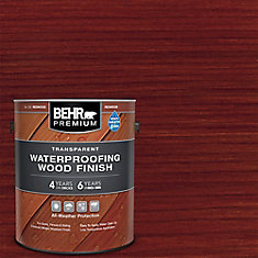 BEHR PREMIUM TRANSPARENT WEATHERPROOFING WOOD FINISH, REDWOOD, 3.79 L