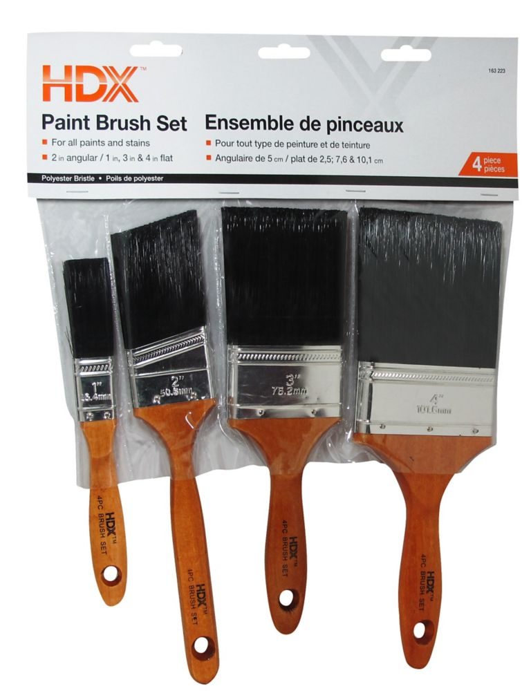 Brush 4 Pack - Poly W/Wood Handle
