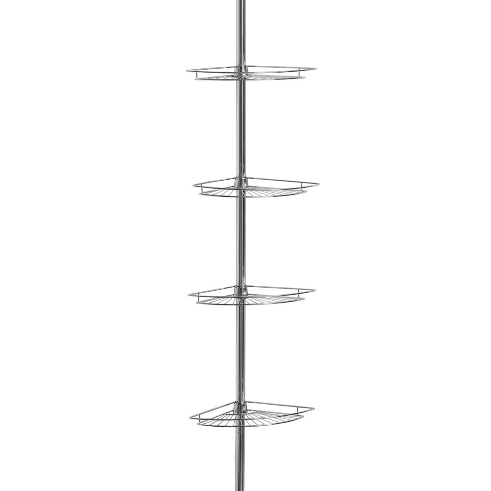shower with in shelf tension stainless bay caddy steel caddies p glacier pole