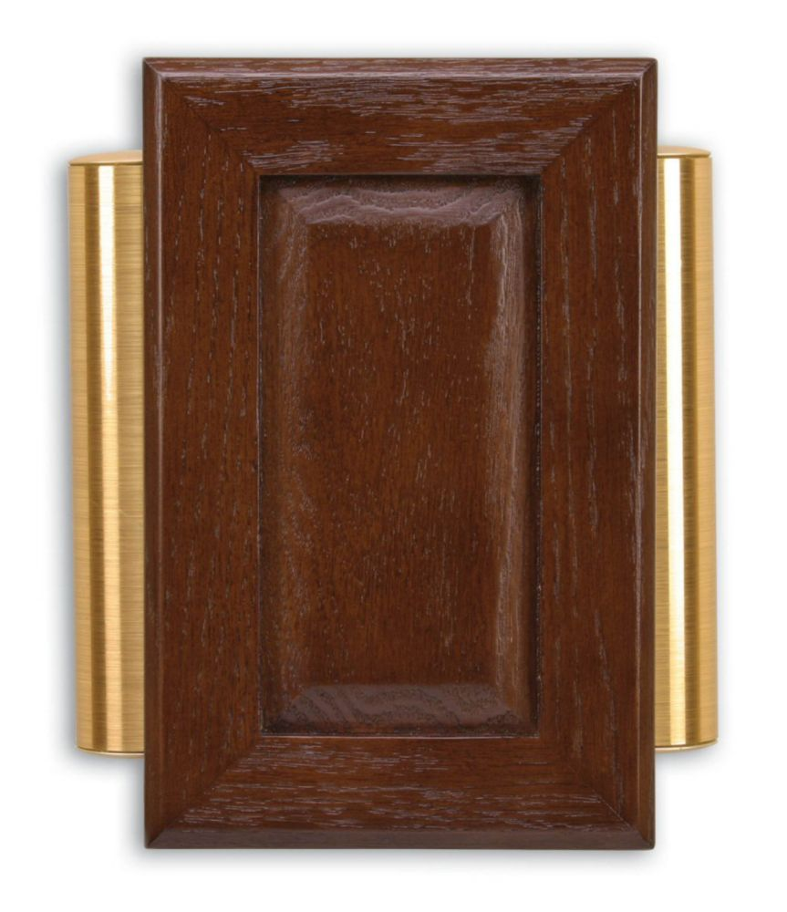 Heath Zenith Wired Door Chime With Brown Cherry Finish And Satin Brass Finish Side Tubes