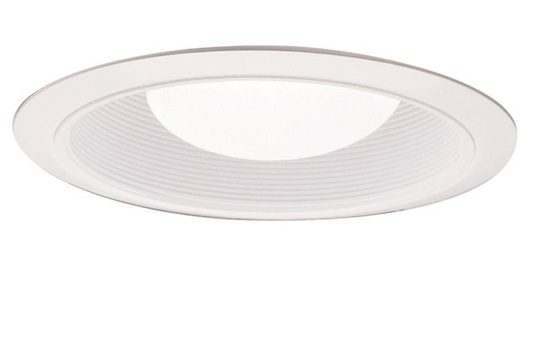 White Baffle with Satin White Trim Ring-6 inch
