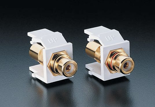 Leviton Snap-In Module, RCA Speaker Jacks, 1 Pair, White