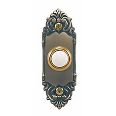 Wired Antique Brass Push Button With Lighted Center