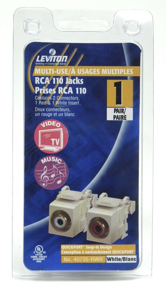 Leviton QuickPort Snap-In RCA to 110 Module, (Audio)  - White