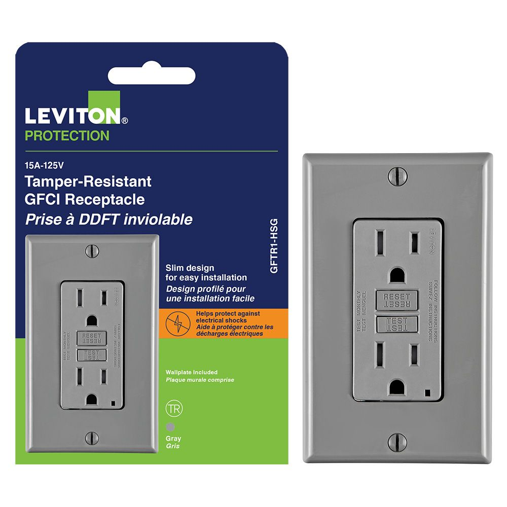 Smartlock GFCI 15 Amp Receptacle With Light, Gray