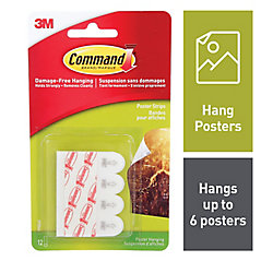 Command Small Poster Strips, 17024C, white