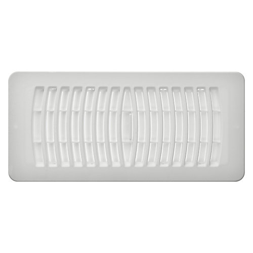 4 inch x 10 inch Plastic Floor Register - White