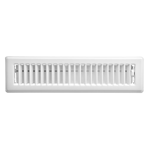 2.25 inch x 12 inch Floor Register - White