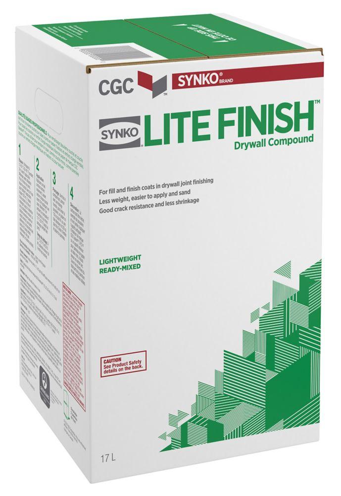 Composé de remplissage et de finition pour cloison sèche Lite prêt à l'emploi, boîte de 15,5litr...