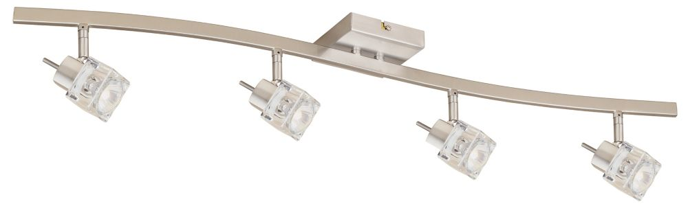 Four Heads GU10 Track Light with Ice Cube Track Head, Brushed Nickel Finish