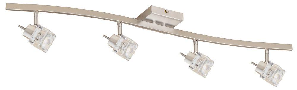 Rail d'éclairage à 4 projecteurs GU-10 en forme de cubes de glace, fini nickel brossé