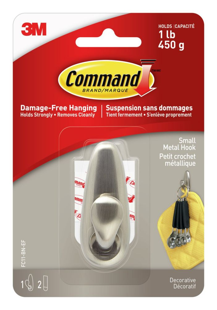 Command Small Brushed Nickel Classic Metal Hook & Strips (1 Hook / 2 Strips)
