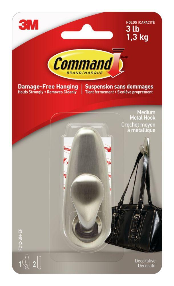 Command Medium Brushed Nickel Classic Metal Hook & Strips (1 Hook / 2 Strips)