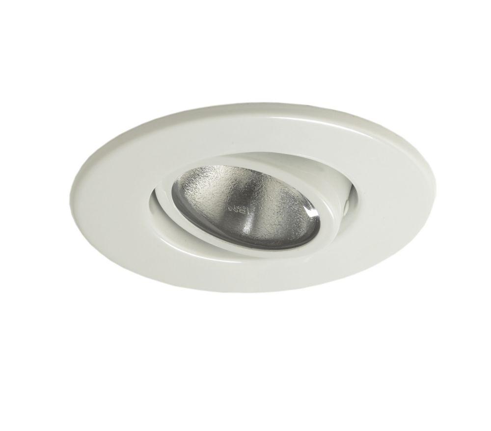 Luminaire affleurant 987WHT, PAR20, garniture blanc brillant, ouverture de 10 cm