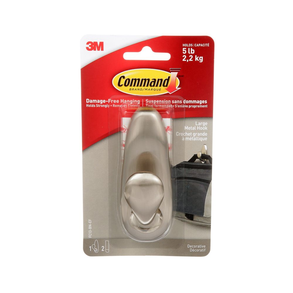 Command Large Forever Classic Metal Hook, FC13-BN-C, brushed nickel
