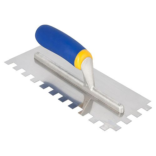 QEP 1/2 In. x 1/2 In. x 1/2 In. Square Notch Mega Grip Trowel