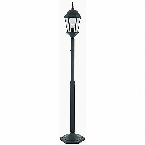 Hampton bay outdoor adjustable post lantern with clear beveled outdoor adjustable post lantern with clear beveled glass black finish mozeypictures Choice Image