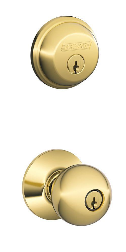Schlage Combo Pack Orbit Bright Brass