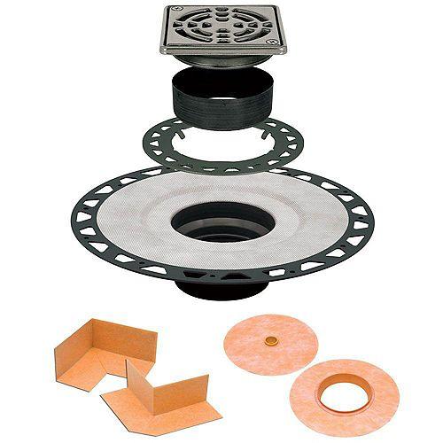 Schluter Ensemble de drain 10cmx 10cm (4pox 4po) en ABS avec grille en acier inoxydable Kerdi