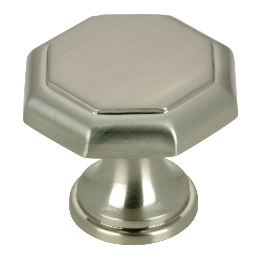Richelieu Traditional Metal Knob 1 3/16 in (30 mm) Dia - Brushed Nickel - Marseille Collection