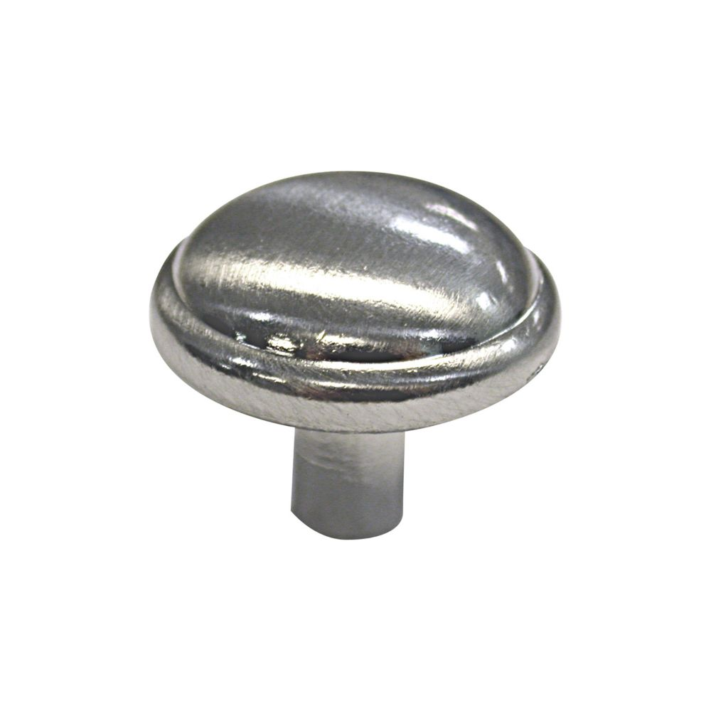 Richelieu Traditional Metal Knob 1 3/32 in (28 mm) Dia - Brushed Nickel - Marseille Collection