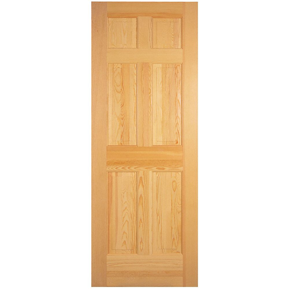 Masonite 32 inch x 80 inch 6 panel clear pine door the for Home depot exterior doors canada